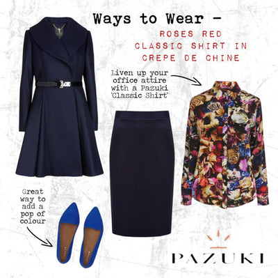 AW14 - Ways to Wear - Roses Red Classic Shirt in Crepe de Chine