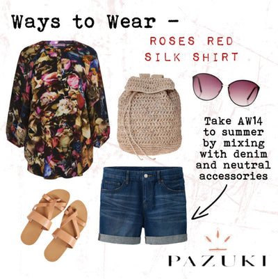 AW14/SS15 - Ways to Wear - Pazuki - Roses Red Silk Shirt