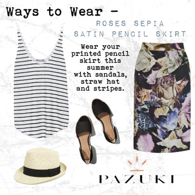 AW14/SS15 - Ways to Wear - Pazuki - Roses Sepia Satin Pencil Skirt