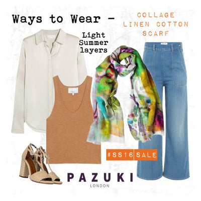 SS16 - Pazuki - Ways to Wear - Collage Linen Cotton Scarf