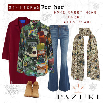 Gift Ideas - For Her - Pazuki - Home Sweet Home Shirt & Jewels Scarf