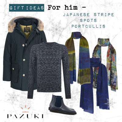 Gift Ideas - For Him - Pazuki - Japanese Stripe, Spots & Portcullis Scarves
