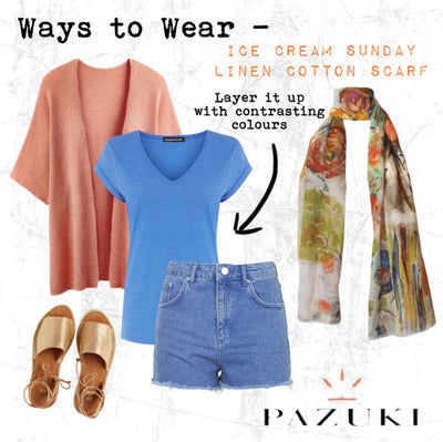 SS14/SS15 - Ways to Wear - Pazuki - Ice Cream Sunday Linen Cotton Scarf