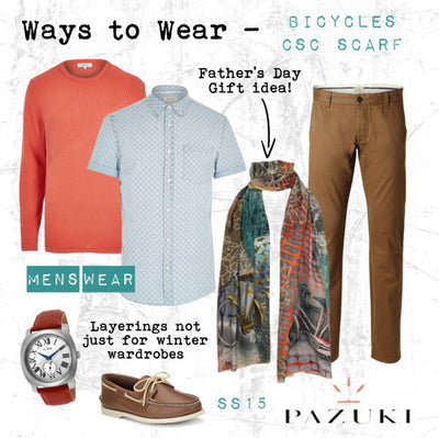SS15 - Ways to Wear - Pazuki - Bicycles CSC Scarf - Fathers Day Gift Inspiration