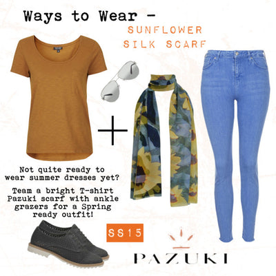 SS15 - Ways to Wear - Pazuki - Sunflower Silk Scarf