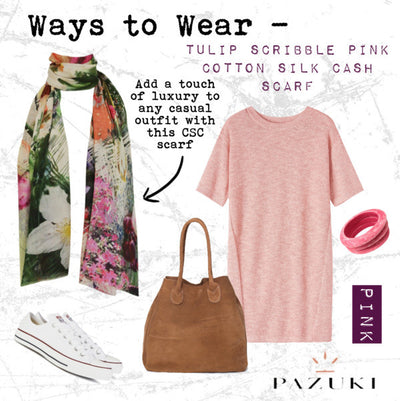 SS15 - Ways to Wear - Pazuki - Tulip Scribble Pink Cotton Silk Cashmere Scarf