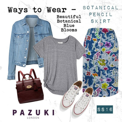 SS16 - Pazuki - Ways to Wear - Botanical Blue Pencil Skirt