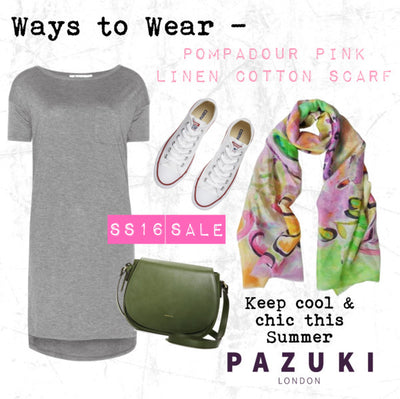 SS16 - Pazuki - Ways to Wear - Pompadour Pink Linen Cotton Scarf