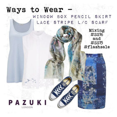 SS16/SS15 - Pazuki - Ways to Wear - Lace Stripe Linen Cotton Scarf & Window Box Pencil Skirt