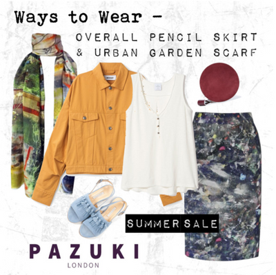 SALE - Pazuki - Ways to Wear - Overall Pencil Skirt & Urban Garden Scarf