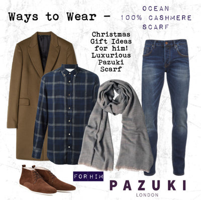 AW16 - Pazuki - Ways to Wear - Ocean 100% Cashmere Scarf