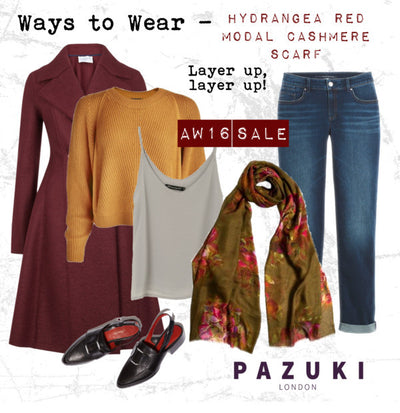 AW16 - Pazuki - Ways to Wear - Hydrangea Red Scarf