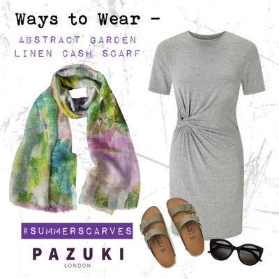 SS17 - Pazuki - Ways to Wear - Abstract Garden Linen Cash Scarf