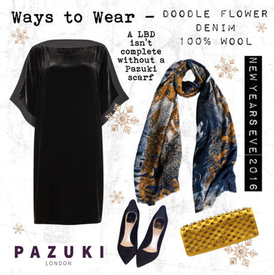 AW16 - Pazuki - Ways to Wear - Doodle Flower Denim 100% Wool Scarf