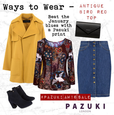 AW16 - Pazuki - Ways to Wear - Antique Bird Red Jersey Top