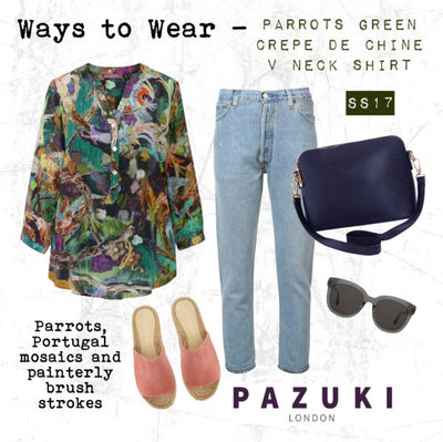 SS17 - Pazuki - Ways to Wear - Parrots Green V Neck Shirt