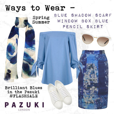 SS16 - Pazuki - FLASHSALE - Ways to Wear - Blue Shadow Scarf and Window Box Blue Pencil Skirt