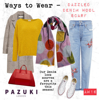 AW16 - Pazuki - Ways to Wear - Dazzled Pastel Denim Look Wool Scarf