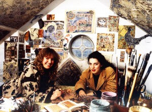 Pookie Blezard & Suzy Thompson creating at our desk. I'm wearing the photographer's jacket