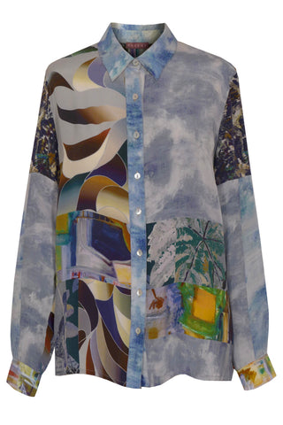 Landscape Grey, Eclipse, Twigs, Pathway & Anemone - Crepe de Chine Shirt