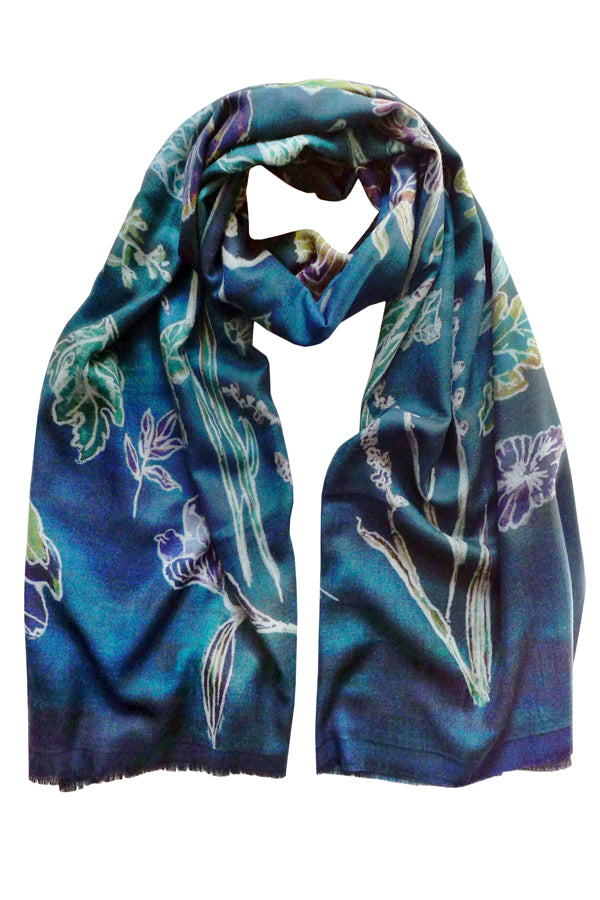 Luminescence Blue - (Double Sided Wool Silk) Scarf