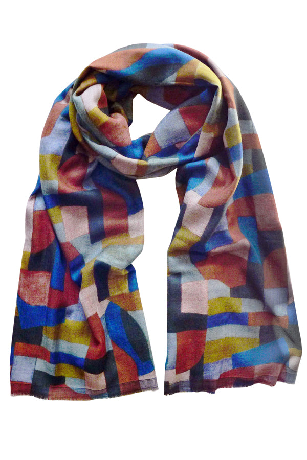 Puzzle Rust - (Double Sided Wool Silk) Scarf