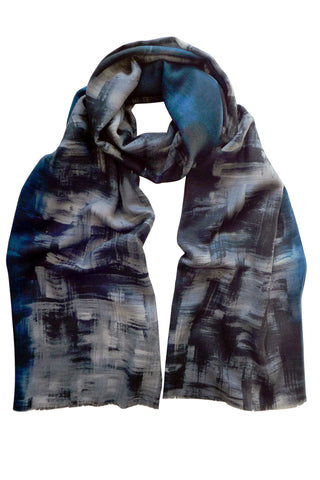 Shadowland Blue - (Wool/Silk) Scarf