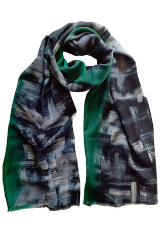 Shadowland Green - (Wool/Silk) Scarf