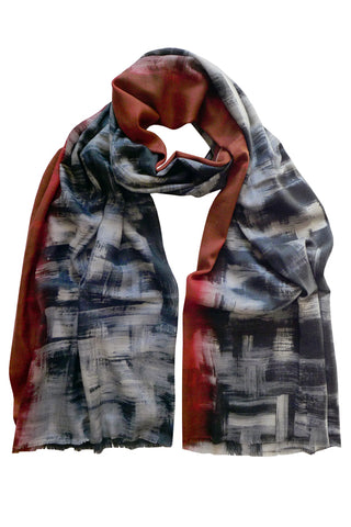 Shadowland Red - (Wool/Silk) Scarf
