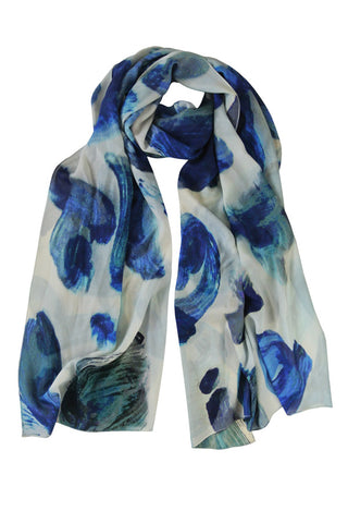 Blue Shadow - (100% Silk Georgette) Scarf