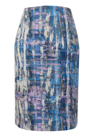 Brush Stroke Pink - Stretch Cotton Pencil Skirt