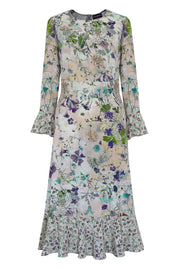 Fortuna Damask Rose Eau de Nil Lilac Biscuit Midi Dress