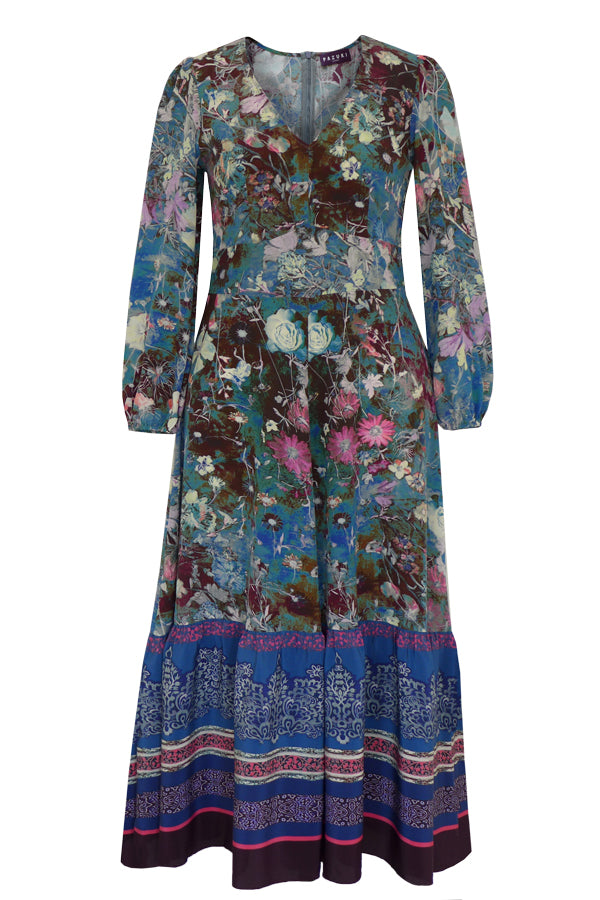 Venus Damask Rose Teal Lilac Pink Midi Dress