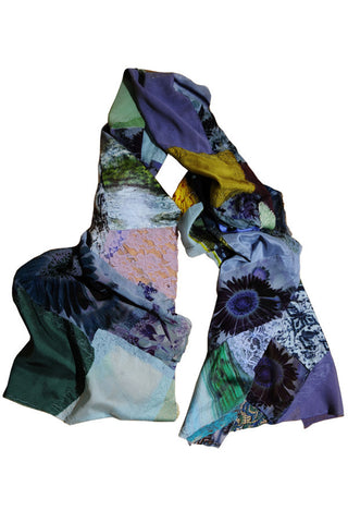 Evening Sunflower - Handmade Patchwork Scarf
