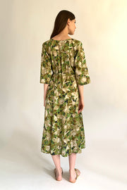 Hestia Camouflage Khaki Cotton Voile Draw String Dress