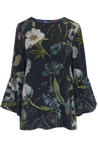 Botanical Navy - Crepe de Chine Bell Sleeve Blouse