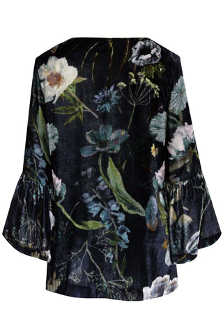 Botanical Navy - Velvet Bell Sleeve Blouse