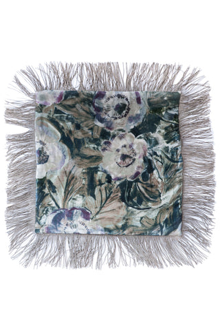 Anemone Pink - Patchwork Metallic Fringe Cushion
