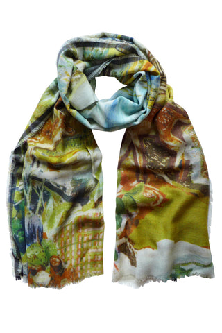 Deer Mountain Neutral - (Wool Black Border) Scarf