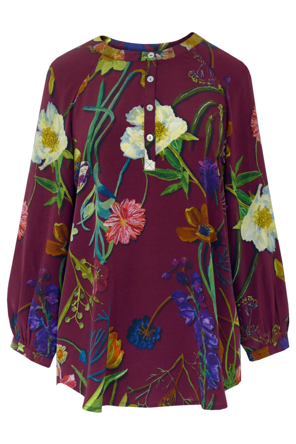 Botanical Red - Crepe de Chine Tunic Shirt