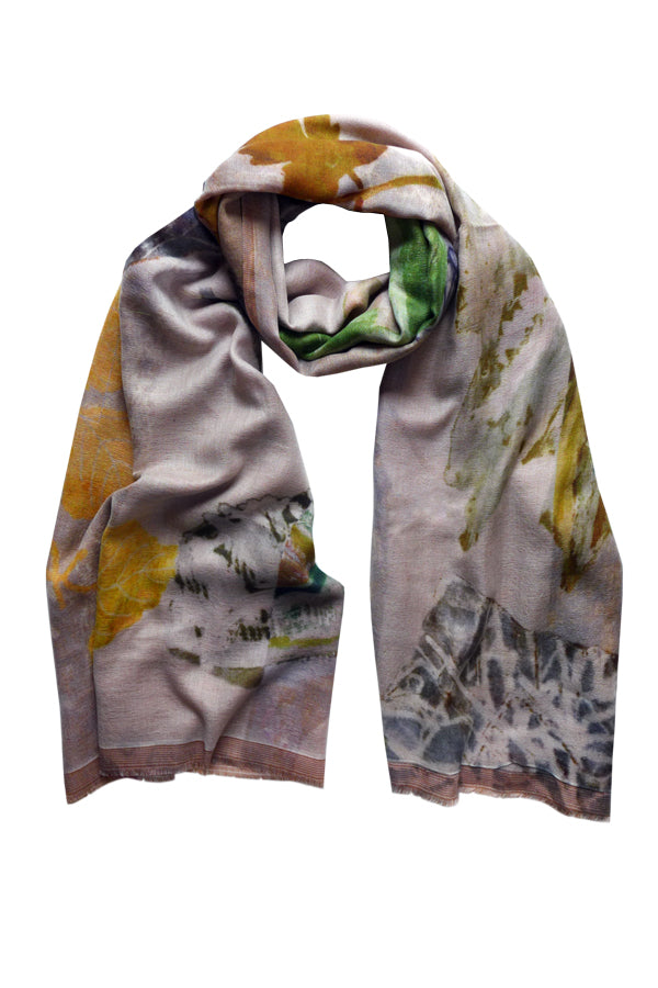 Pathway Beige - (Double Sided Wool Silk) Scarf