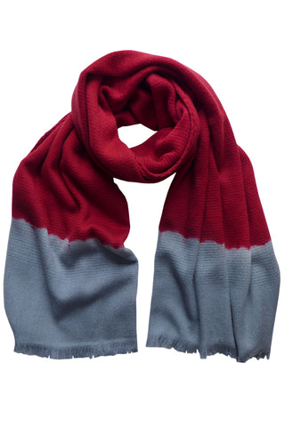 Colour Fusion Red Grey - (100% Wool) Scarf