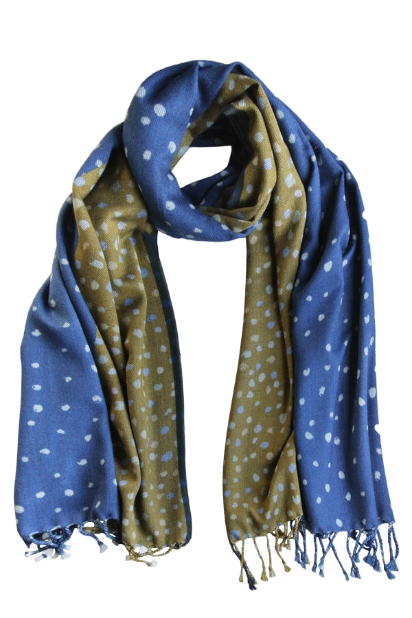 Spots Navy Mustard - (DNMB Denim Border) Scarf