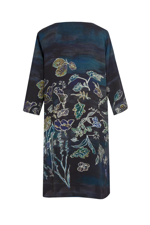 Pazuki | AW18 |  V Neck Tunic Dress - Luminescence Blue - BACK
