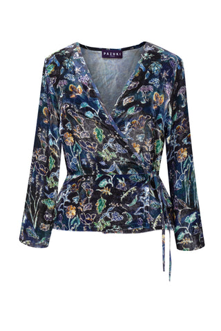 Luminescence Blue - Velvet Wrap Front Top