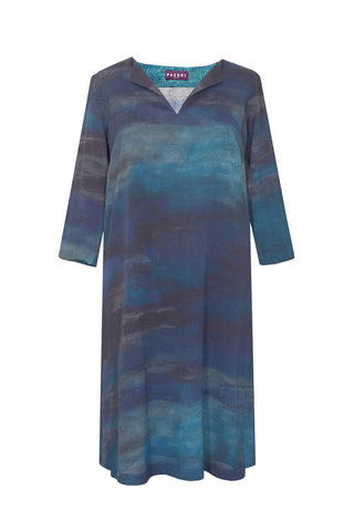 Luminescence Blue - V Neck Tunic Dress