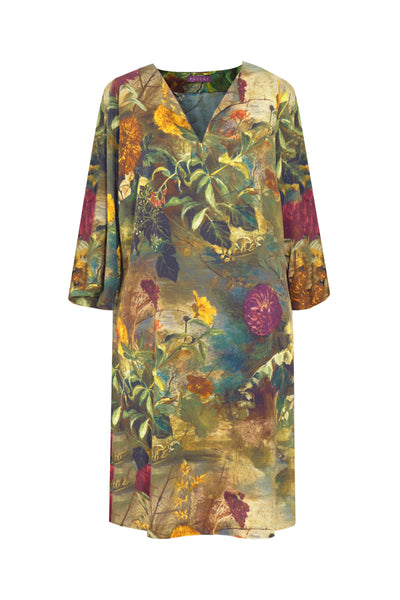 Pazuki | AW18 |  V Neck Tunic Dress - Paradiso Green - FRONT