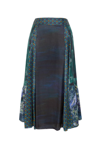 Patchwork Blue - Silk Satin Skirt