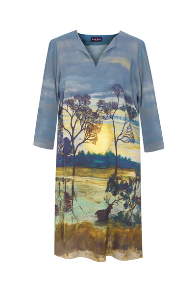 Pazuki | AW18 |  V Neck Tunic Dress - Richmond Park Multi - FRONT