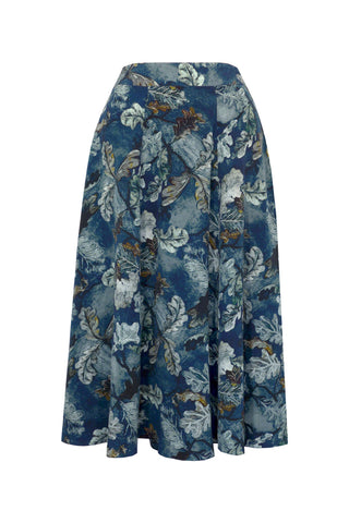 Royal Oak Blue - Crepe de Chine Panelled Skirt
